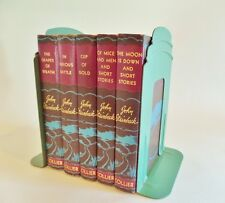 Vintage Green Art Deco Metal Bookend Set 2 Demco School Library Industrial 1940s