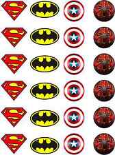 Marvel Batman Spiderman Superman Capt America Edible Rice Paper Cupcake Toppers