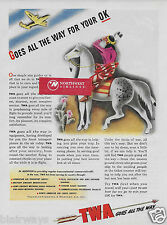TWA TRANSCONTINENTAL & WESTERN 1944 CONSTELLATION & INDIAN ALL THE WAY FOR OK AD