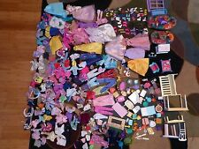 LARGE LOT Barbie Clothes Outfits Dresses Accessories Shoes Doll House Furniture