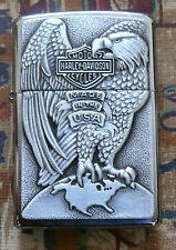 AUTOMOTIVE HARLEY DAVIDSON EAGLE AND GLOBE ZIPPO LIGHTER FREE P&P FREE FLINTS