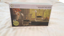 Hammered Glass 2 piece Tealight Candle Holder Set. New in box