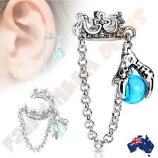 Crown Ear Cuff with Chain & Dragon Ball Dangle