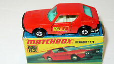 MINT Matchbox mb62 Renault 17  TL car Boxed with Rare Fire Decals NO PLAY