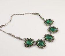 Verde Esmeralda Cristal Facetado Diamante Collar De Aspecto Vintage Barroco