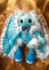 Handmade bunny Toy blue sky doll art yarn animal gift craft crochet children kid