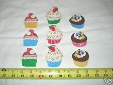 9pc Cupcakes Cup cakes Cute Fabric Applique Iron On Ons