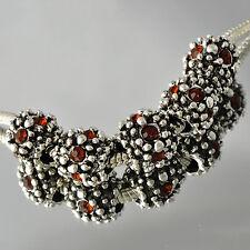 5pcs  White Gold Red Crystal Beads Fit European Charm Bracelet