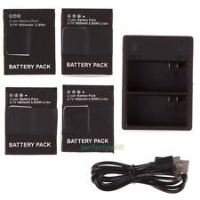 4X 1600mAh Battery + Dual USB Charger for Gopro AHDBT-301 302 HD Hero3 3+ Black