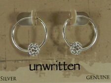 Unwritten Sterling Silver Fireball Hoop Earrings