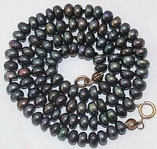 VINTAGE REAL 4.8mm BLACK BAROQUE CULTURED PEARL 9K Gold CLASP KNOTTED NECKLACE