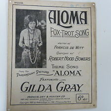 song sheet ALOMA fox trot song, Gilda Gray 1925