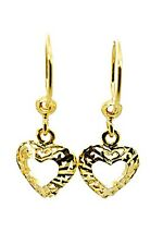 1 PAIR EARINGS YELLOW GOLD PLATED HEART LOOP GLITTER ORIENTAL SPARKLE THAI STYLE