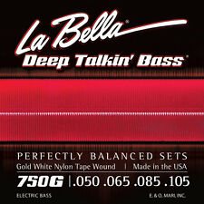 LA BELLA 750G GOLD WHITE NYLON TAPE WOUND BASS STRINGS, LITE GAUGE 4's - 50-105