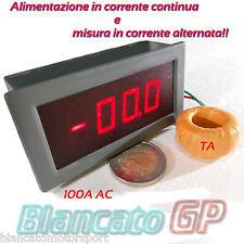 AMPEROMETRO DIGITALE DA PANNELLO 100A AC CON TA ALIMENTAZIONE 24V DC LED ROSSO