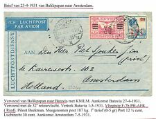 NED INDIE 1931-4-23   FLIGHT COVER = BALIKPAPAN NAAR AMSTERDAM  =   F/VF