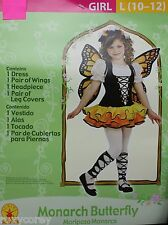 Halloween Girls Monarch Butterfly Dress Costume Size Large 10-12 NWT