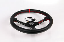 "13.7""/350mm Black Racing Steering Wheel With Horn Button Leather PVC"