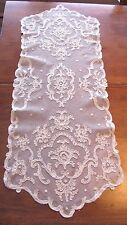 Antique Romantic French Tambour NET Lace Dresser scarf Doily Table Runner 34X13""