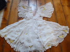 KATE MOSS IVORY  BUTTERFLY DRESS LOW V 4- 6 TOPSHOP