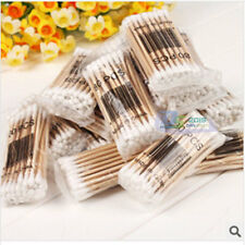 400pcs White Wooded Double Pointed Head Makeup Removing Cotton Buds Swabs Q-tips