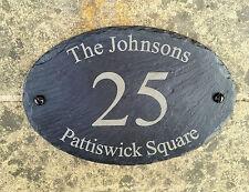 Nombre de la casa de pizarra Personalizado Natural Oval número de puerta de Puerta Firmar Placa 13x20cm