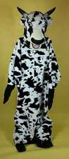 Mascot Costume Bull 6 Piece Black & White Faux Fur Farm Animal Adult  XLarge