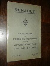 CATALOGUE PIECES DE RECHANGE - Renault Vivastella Type PG7 - SA - 1933
