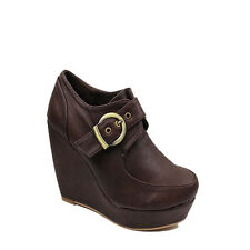 NEW WOMENS LADIES HIGH WEDGE HEEL PLATFORM LOW ANKLE BOOTS SHOES SIZE 2-7