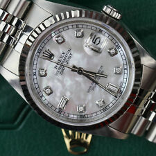 Mens Rolex 36mm Datejust White MOP Mother Of Pearl 8+2 Diamond Dial Watch