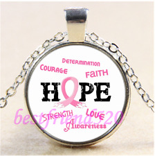 Breast Cancer HOPE Photo Cabochon Glass Tibet Silver Pendant Necklace#G17
