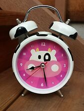 Mooing Cow Alarm Clock Pink Face Battery Operated Country Holstein Nightstand