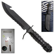 Pull The Pin Military Fixed blade Serrated Steel SURVIVAL KIT Knife - black