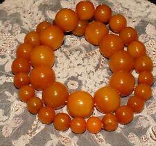 Vintage strand of butterscotch amber bakelite beads. Huge beads. 1920/30s.