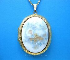 Porcelain BABY BOY CAMEO Locket Pendant Necklace Birthday Gift for Mother Mom