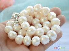 "P4785 17"" 15mm white baroque freshwater cultured pearl necklace"