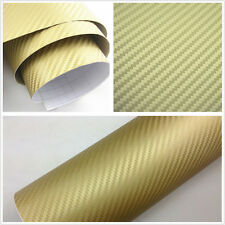 30X127CM Golden Carbon Fiber Vinyl Wrap Sticker Car Interior Console Panel Decal