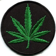Marijuana leaf pot weed grass ganja hippie boho retro applique iron-on patch G-4