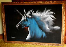 HUGE UNICORN PORTRAIT Original Oil Painting Signed NAVARRO Black Velvet W Frame