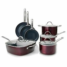 Todd English Color Ceramic Nonstick 11-Piece Cookware Set Merlot NEW