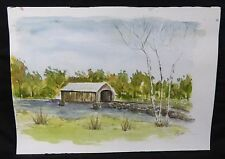 Original Johnson Watercolor Painting Covered Bridge Birch Tree Pen Ink Vintage