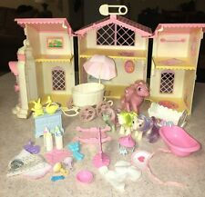 Vintage G1 My Little Pony Lullaby Nursery Play Set w/ Stroller Accessories 1985