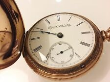 Antique ELGIN 14k Rose Gold Overlay Full Hunter Pocket Watch-55mm-G.M. Wheeler
