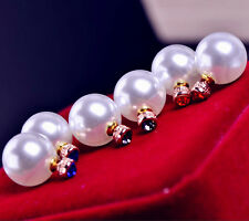ANTHROPOLOGIE 16MM WHITE PEARL ROYAL BLUE STUDS CAN BE WORN FROM EACH SIDE - NEW