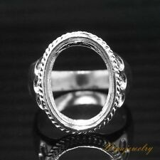 Ring Setting Sterling Silver 12x16mm.Oval Cab size 7