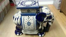 Large  Porcelain Elephant Plant Holder Statue White/Blue
