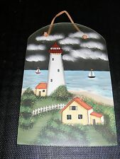 PAINTED LIGHTHOUSE & HOUSE ON FROSTED GLASS WALL HANGING PICTURE