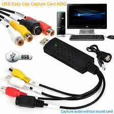 Tapa fácil USB 2.0 Audio Estéreo De Video VHS a DVD Captura Tarjeta Adaptador Convertidor Reino Unido