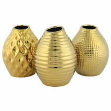'Aurum' Set of 3 Gold Porcelain 13cm Contemporary Vase Ornaments