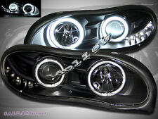 1998-2002 Chevy Camaro CCFL Halo LED Projector Headlights Black Clear